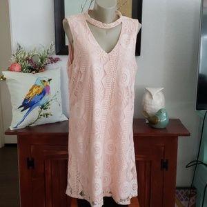 Anthropologie C Peach lace Dress Size XL